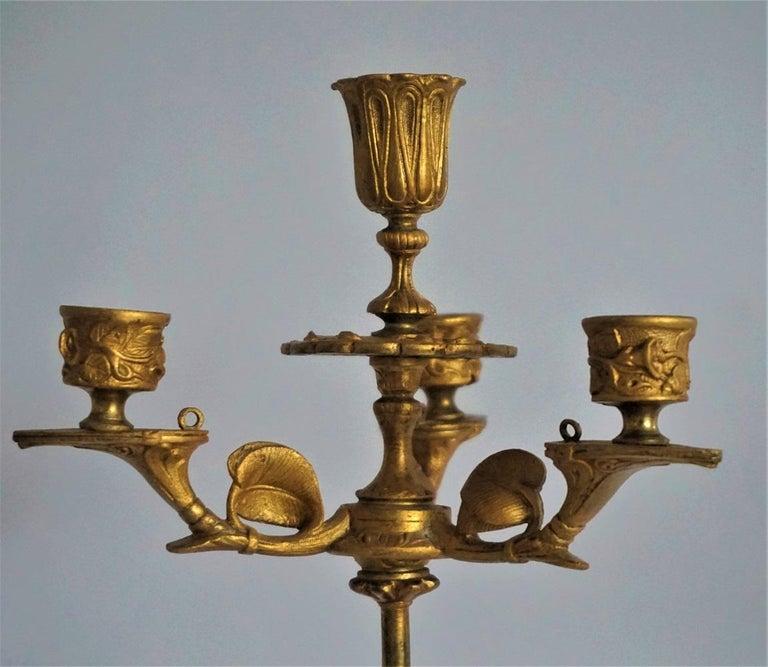 19th Century Pair of French Empire Gilt Bronze Four-Light Candelabra 6