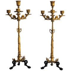 19th Century Pair of French Empire Gilt Bronze Four-Light Candelabra