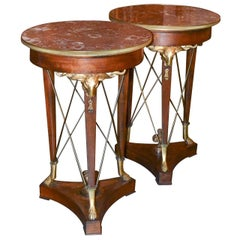 19th Century Pair of French Empire Side Tables