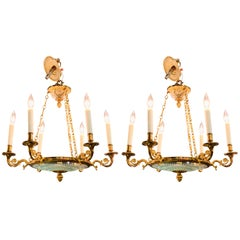 19th Century Pair of French Empire Style Bronze and Cut Glass Chandeliers