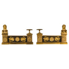 19th Century, Pair of French Empire Style Gilt Bronze Fireplace Chenets