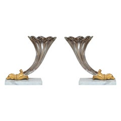 19th Century Pair of French Empire Style Glass Cornucopia Vases
