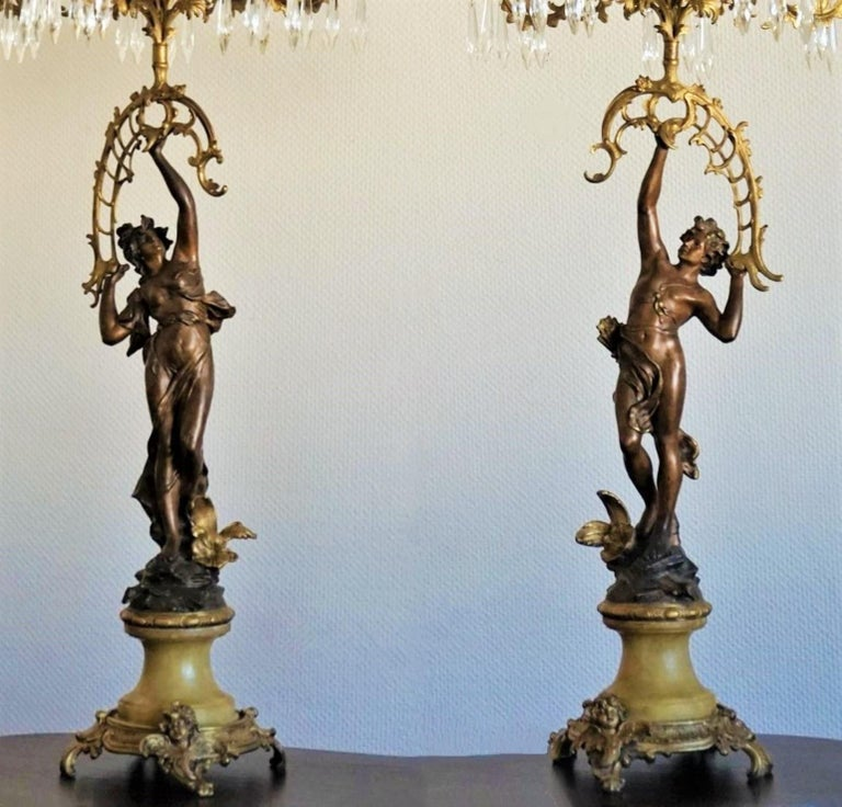 19th Century Pair of French Figurines Patinated and Doré Bronze Candelabra 2