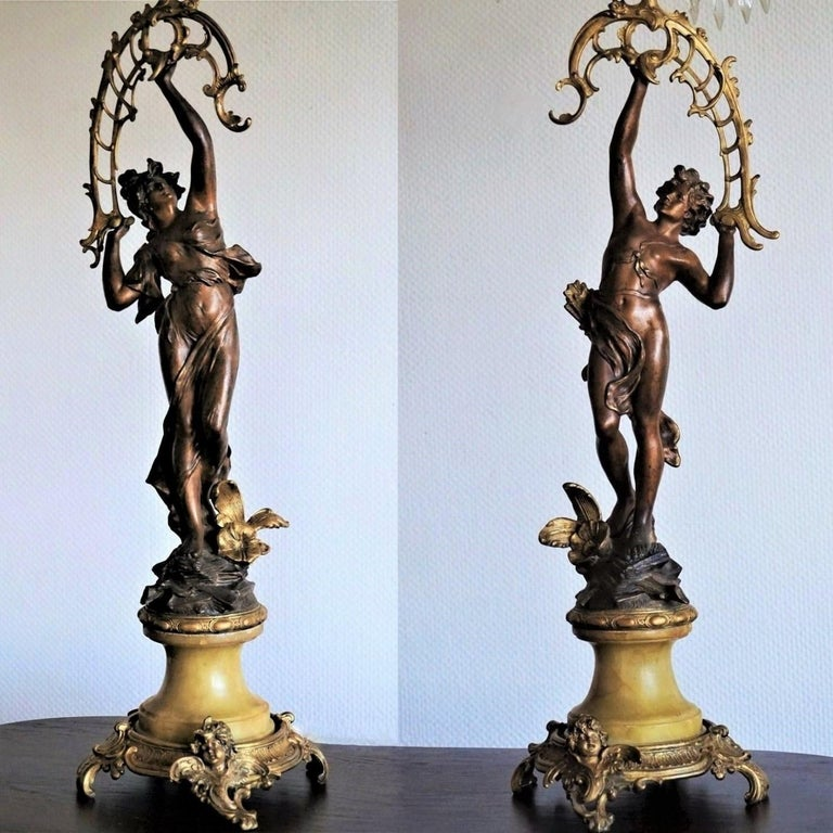 19th Century Pair of French Figurines Patinated and Doré Bronze Candelabra 3