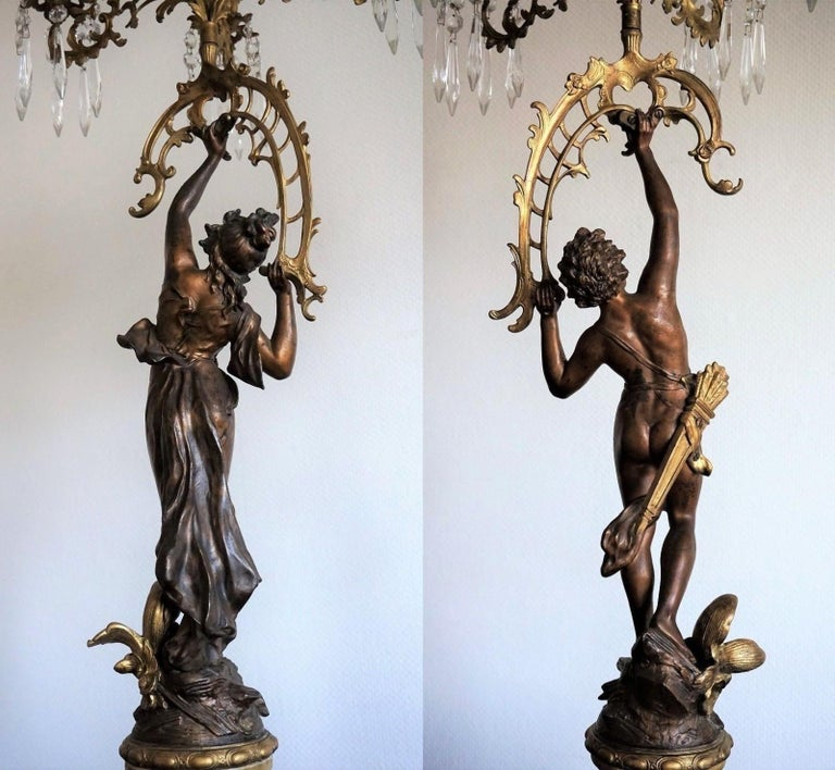 19th Century Pair of French Figurines Patinated and Doré Bronze Candelabra 8