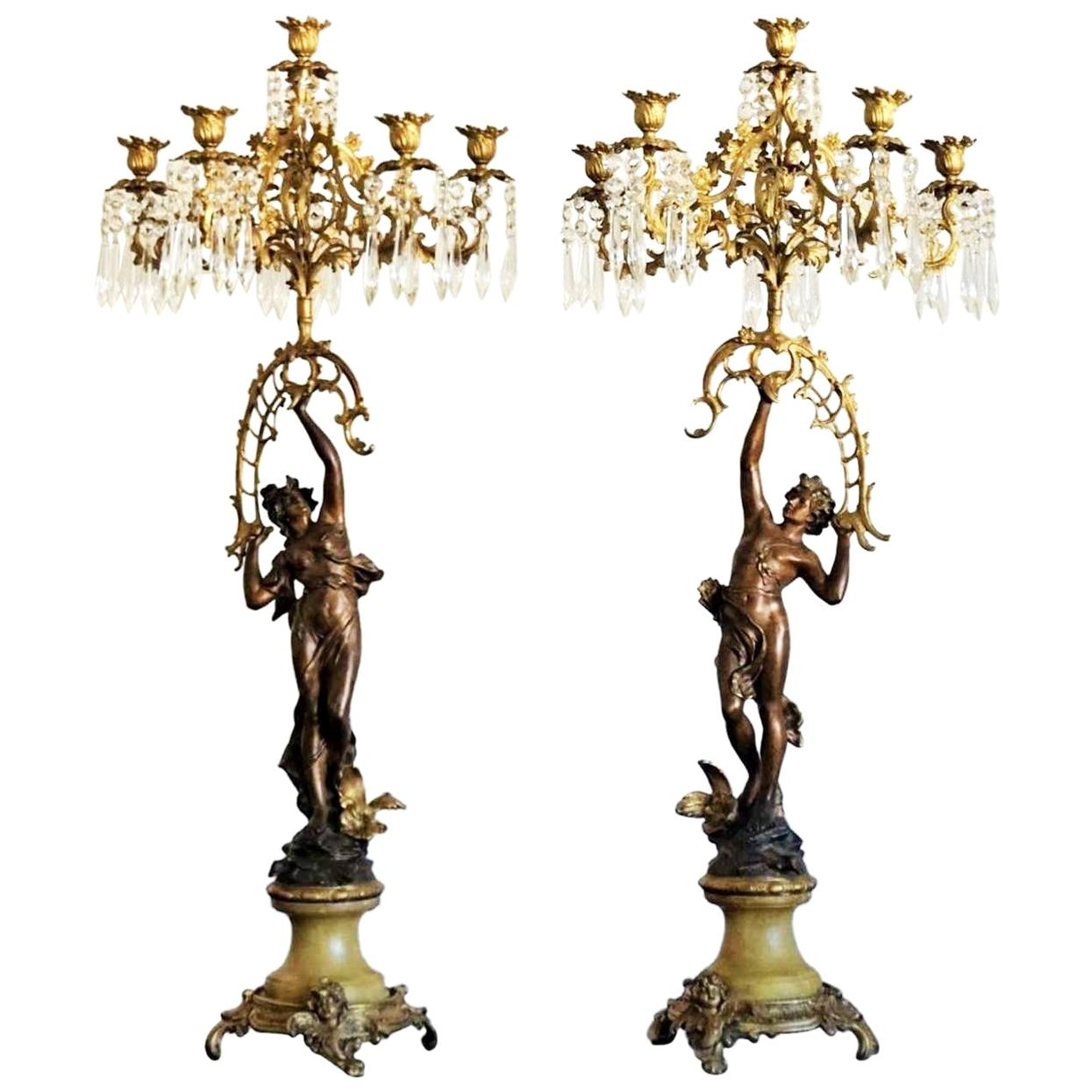 19th Century Pair of French Figurines Patinated and Doré Bronze Candelabras