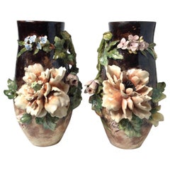 19th Century Pair of French Floral Barbotine Majolica Vases