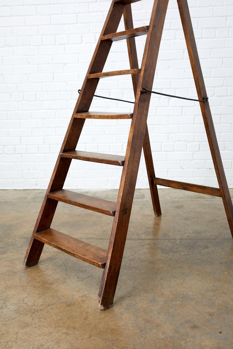 19th Century Pair of French Folding Library Step Ladders For Sale 5