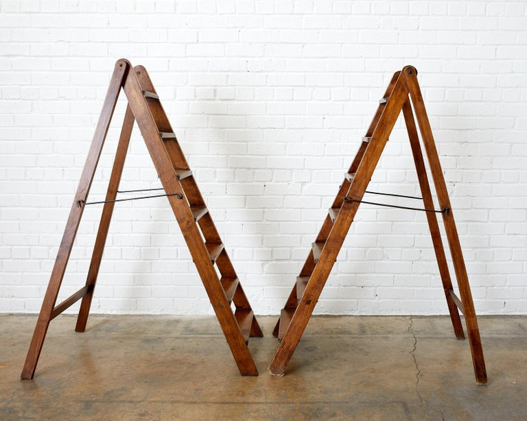 Country 19th Century Pair of French Folding Library Step Ladders For Sale