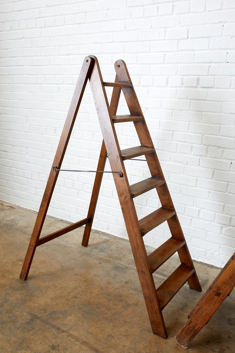 Hand-Crafted 19th Century Pair of French Folding Library Step Ladders For Sale