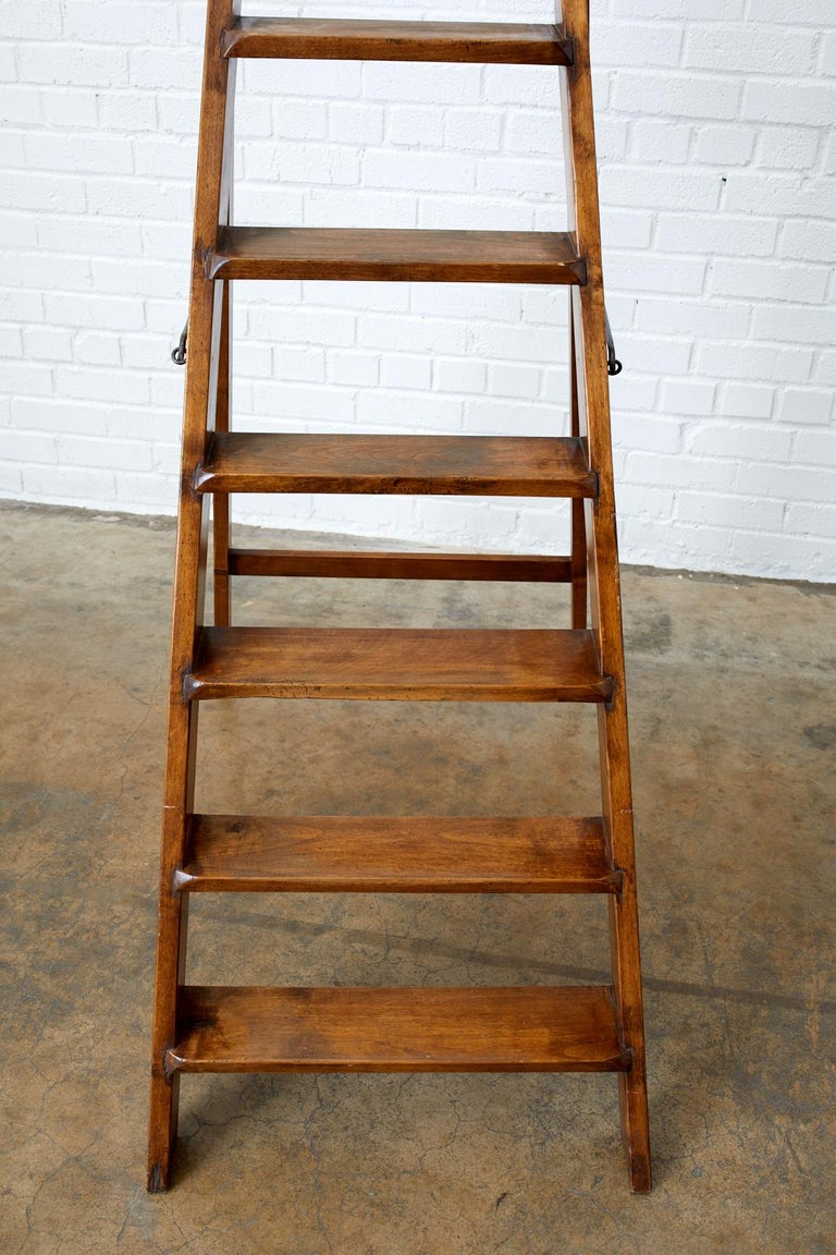 Iron 19th Century Pair of French Folding Library Step Ladders For Sale