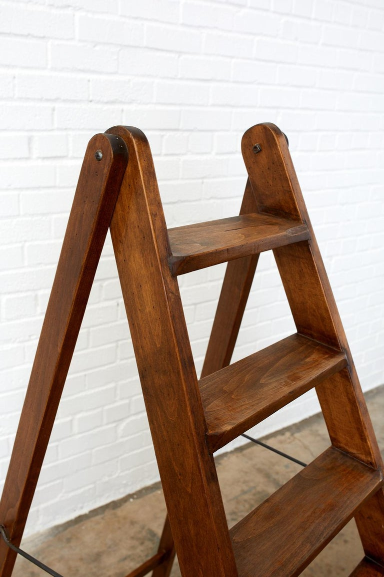 19th Century Pair of French Folding Library Step Ladders For Sale 1