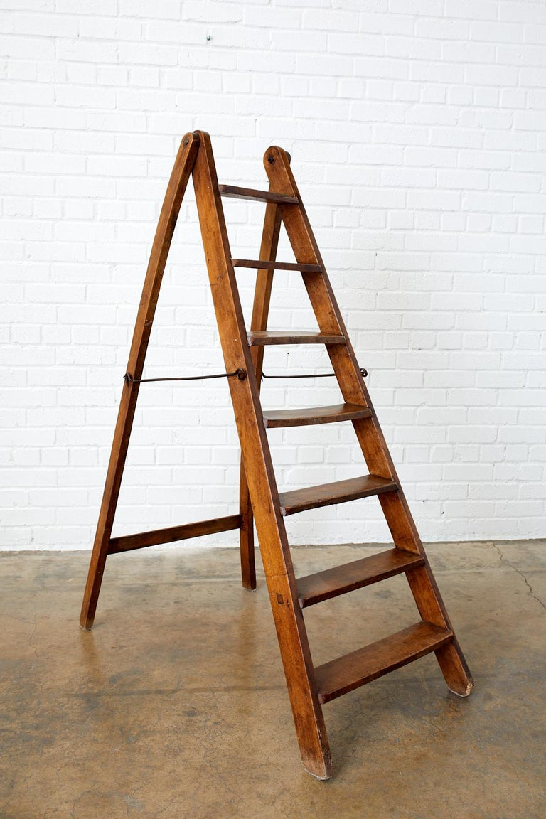 19th Century Pair of French Folding Library Step Ladders For Sale 2