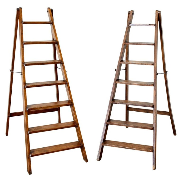 19th Century Pair of French Folding Library Step Ladders For Sale