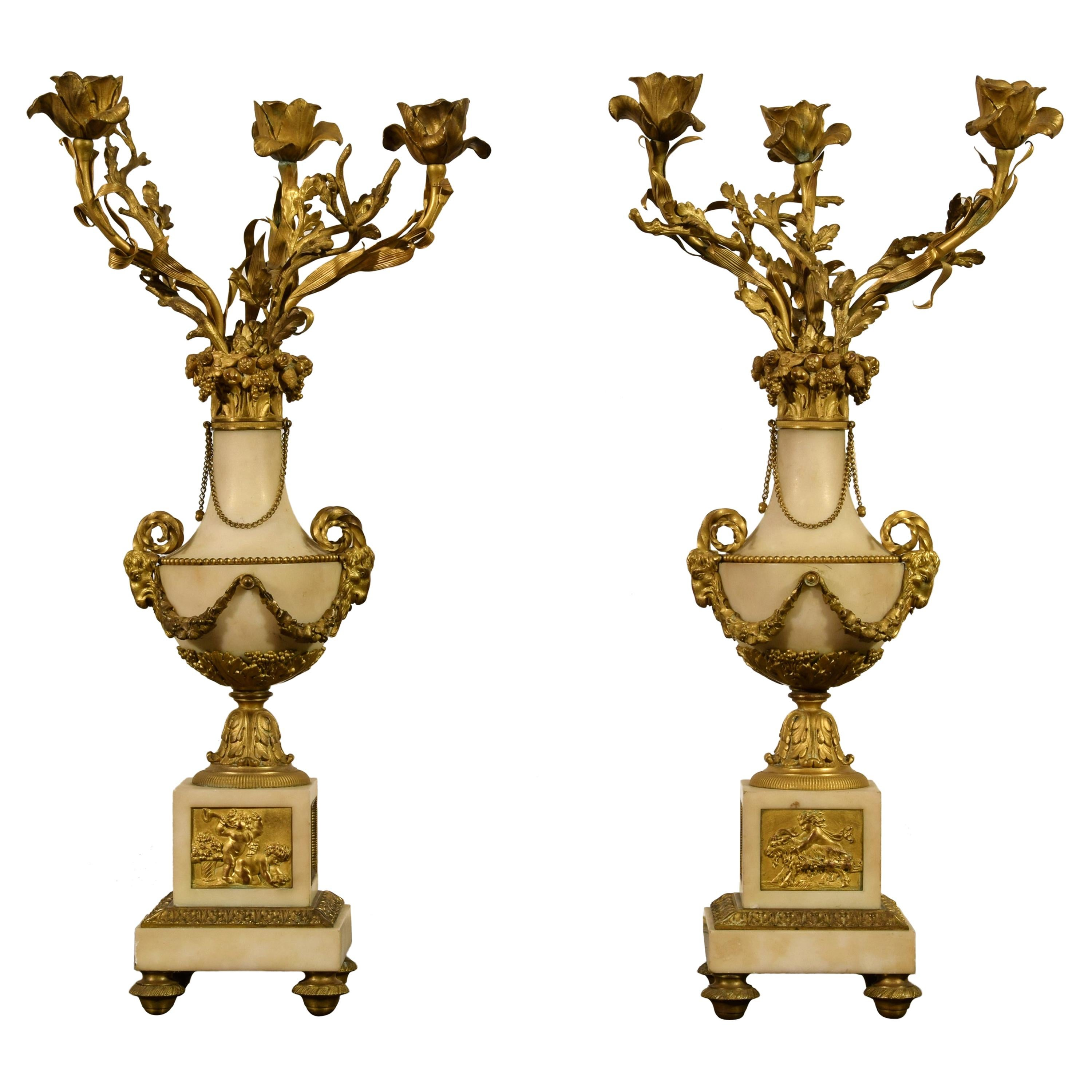 19th Century, Pair of French Gilt Bronze and Marble Candelabra