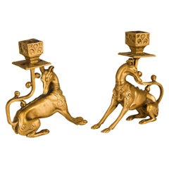 Pair of Gilt Bronze candle holder with Greyhound