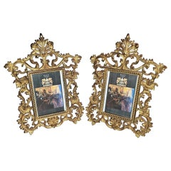 19th Century Pair of French Gilt Metal Photo Frames by Beatrice