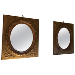 19th Century Pair of French Giltwood Framed Mirrors, 1890s