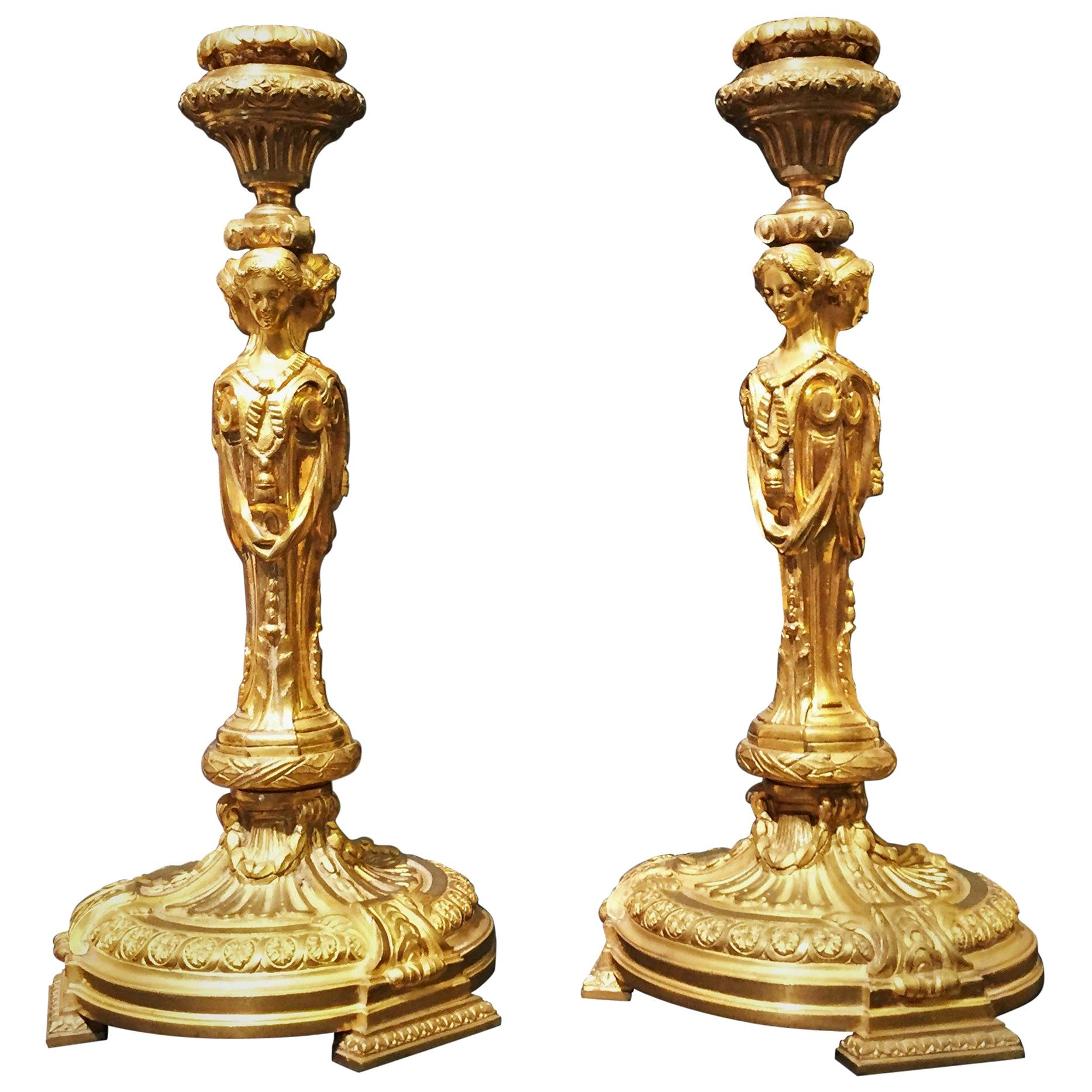 19th Century, Pair of French Git Bronze Candlesticks with Vestals