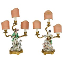 19th Century, Pair of French Golden Bronze Candelabra and Polychrome Porcelain