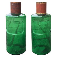19th Century Pair of French Hand Blown Green Glass Apothecary Jars, Tole Lids