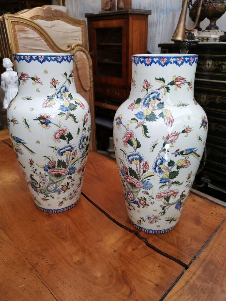 19th Century Pair of French Large Ceramic Vases Marked and Numbered by Gien For Sale 4