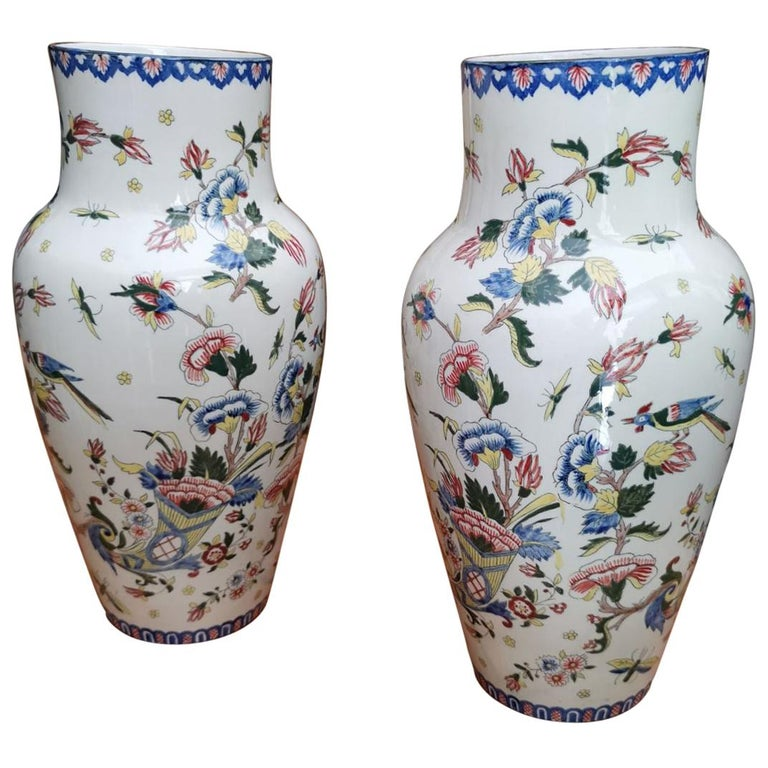 19th Century Pair of French Large Ceramic Vases Marked and Numbered by Gien For Sale