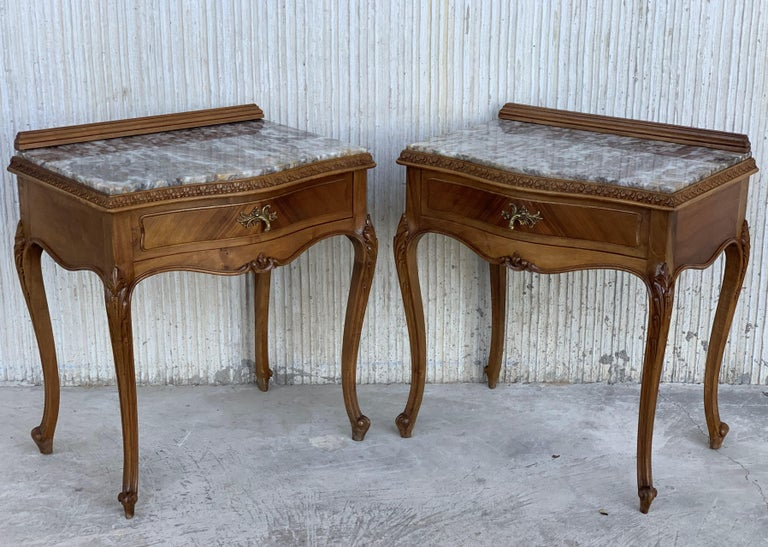 19th century pair of Louis XV carved nightstand with one drawer and marble top.