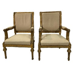 19th Century Pair of French Louis XVI Gilded Armchairs