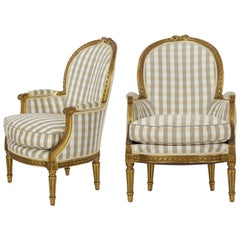 19th Century Pair of French Louis XVI Style Giltwood Antique Armchairs