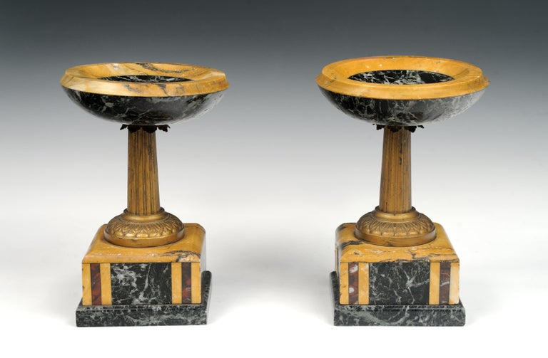 19th Century Pair of French Marble Garniture Tazzas Compotes 4