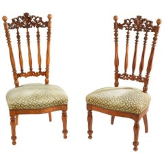 19th Century Pair of French Natural Wood Chairs with Openwork Back