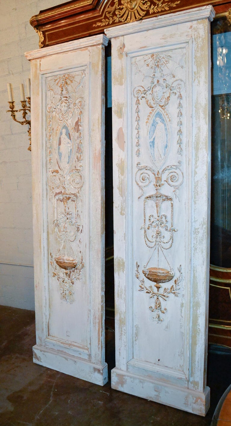 19th Century Pair of French Neoclassical Panels For Sale 3