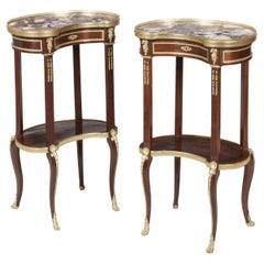 19th Century Pair of French Ormolu-Mounted Kidney-Shaped Occasional Tables