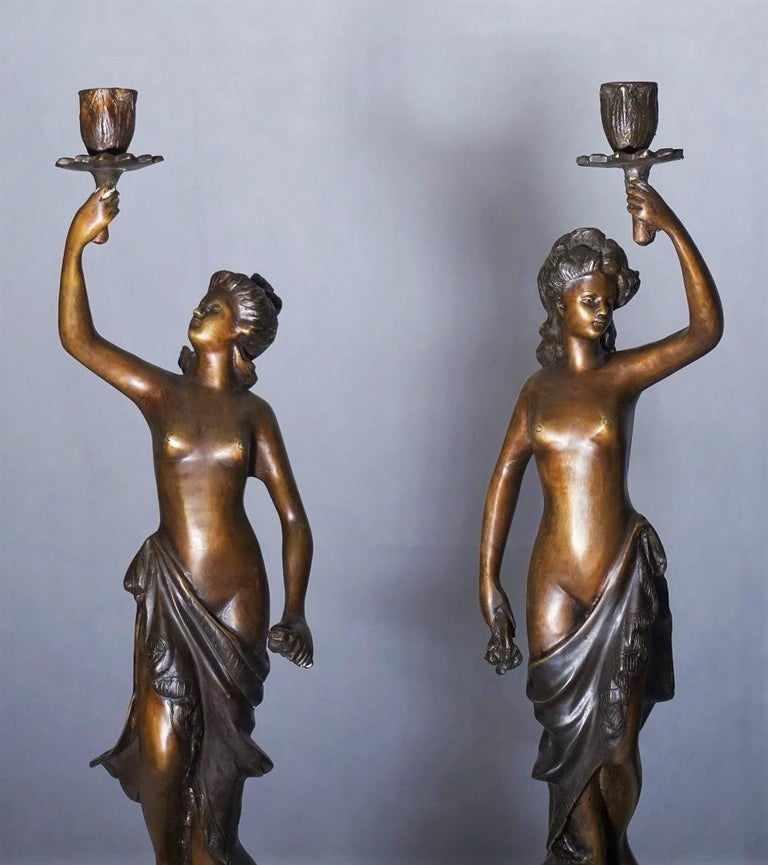 Empire 19th Century Pair of French Patinated Bronze Sculptures Candelabra Candleholders For Sale