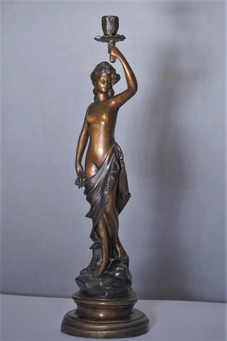 19th Century Pair of French Patinated Bronze Sculptures Candelabra Candleholders For Sale 1