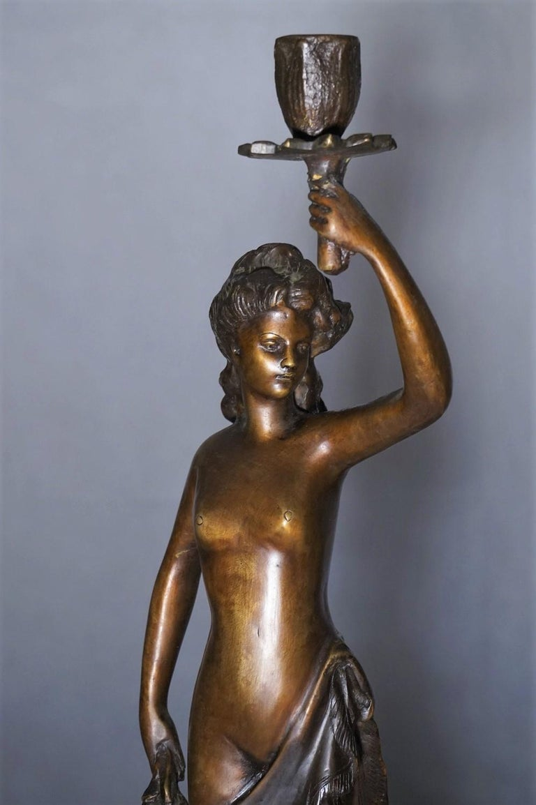 19th Century Pair of French Patinated Bronze Sculptures Candelabra Candleholders For Sale 3