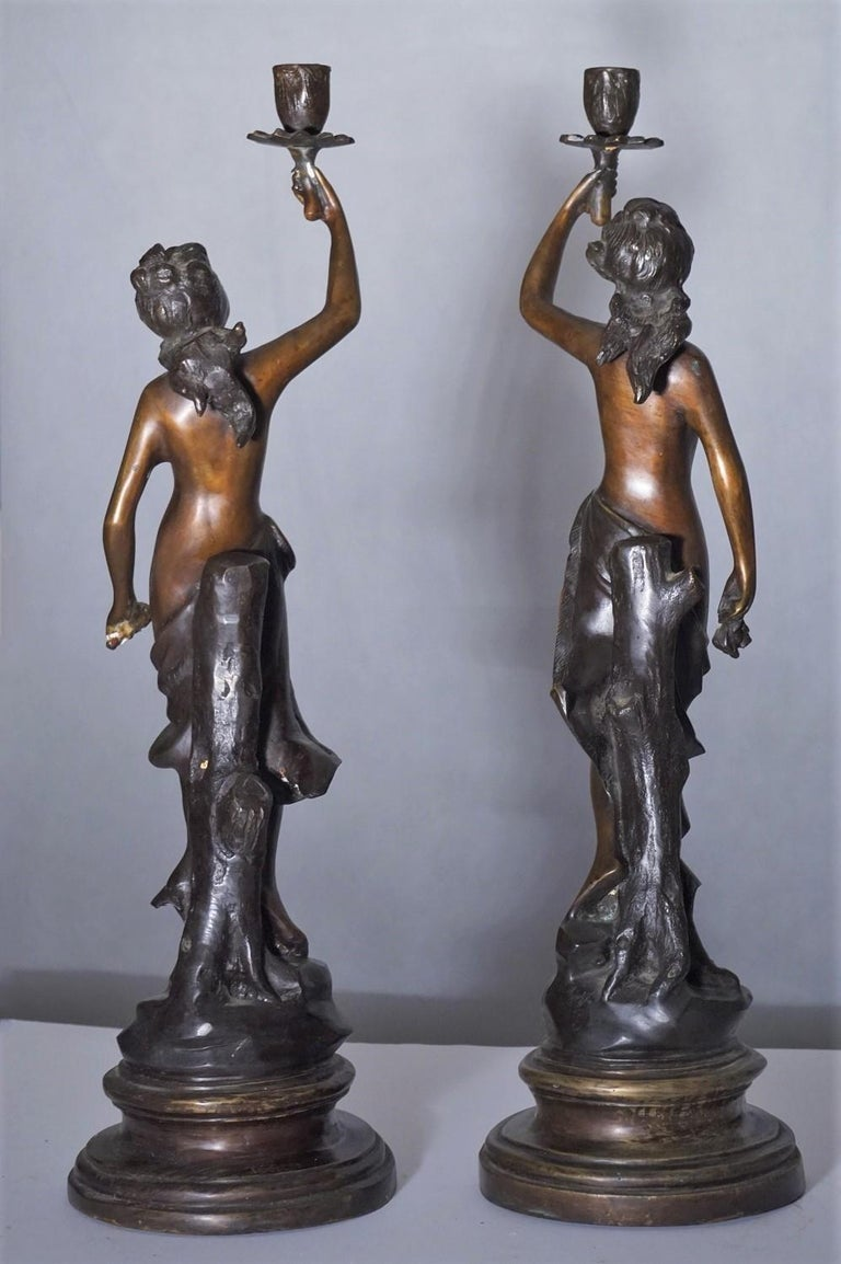 19th Century Pair of French Patinated Bronze Sculptures Candelabra Candleholders For Sale 5