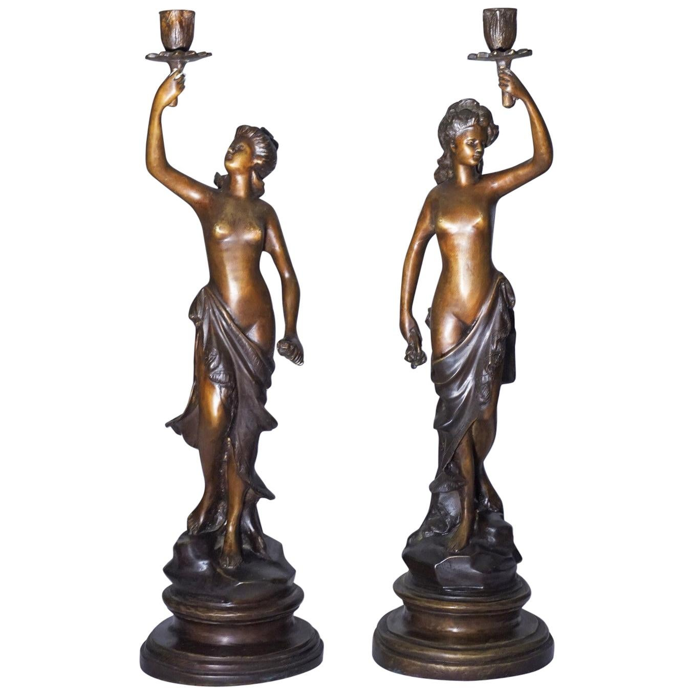 19th Century Pair of French Patinated Bronze Sculptures Candelabra Candleholders