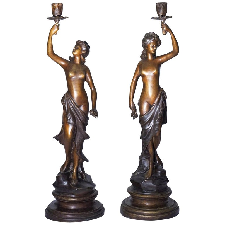 19th Century Pair of French Patinated Bronze Sculptures Candelabra Candleholders For Sale