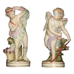 19th Century, Pair of French Porcelain Sculptures Depicting Cupid and Psyche