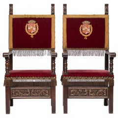19th Century Pair of French Renaissance Armchairs