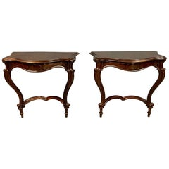 19th Century Pair of French Rosewood Louis XV Style Console Tables