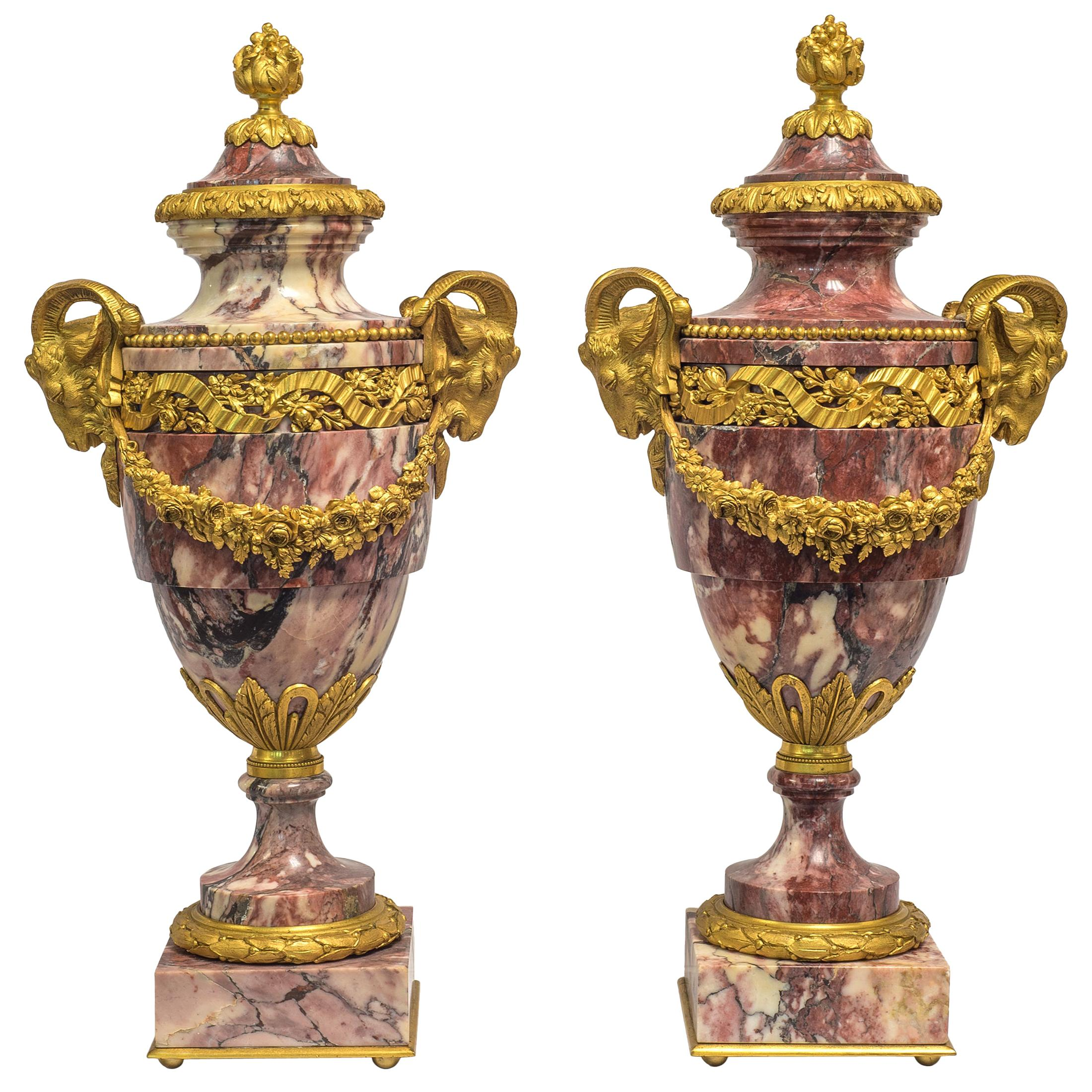19th Century Pair of French Rouge Marble and Gilt Bronze Urns