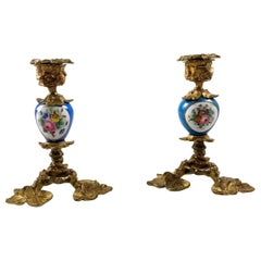 19th Century Pair of French Sevres Table Candle Sticks with Ormolu Mounts