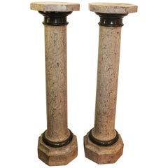 19th Century Pair of French Stucco Hand Painted Faux Marble Pedestals