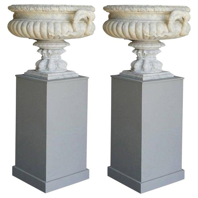 19th Century Pair of French Tazza Urns in Carrara Marble