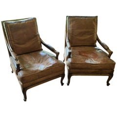 19th Century Pair of French Walnut Armchairs