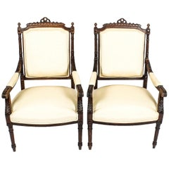 19th Century Pair of French Walnut Fauteuils Armchairs