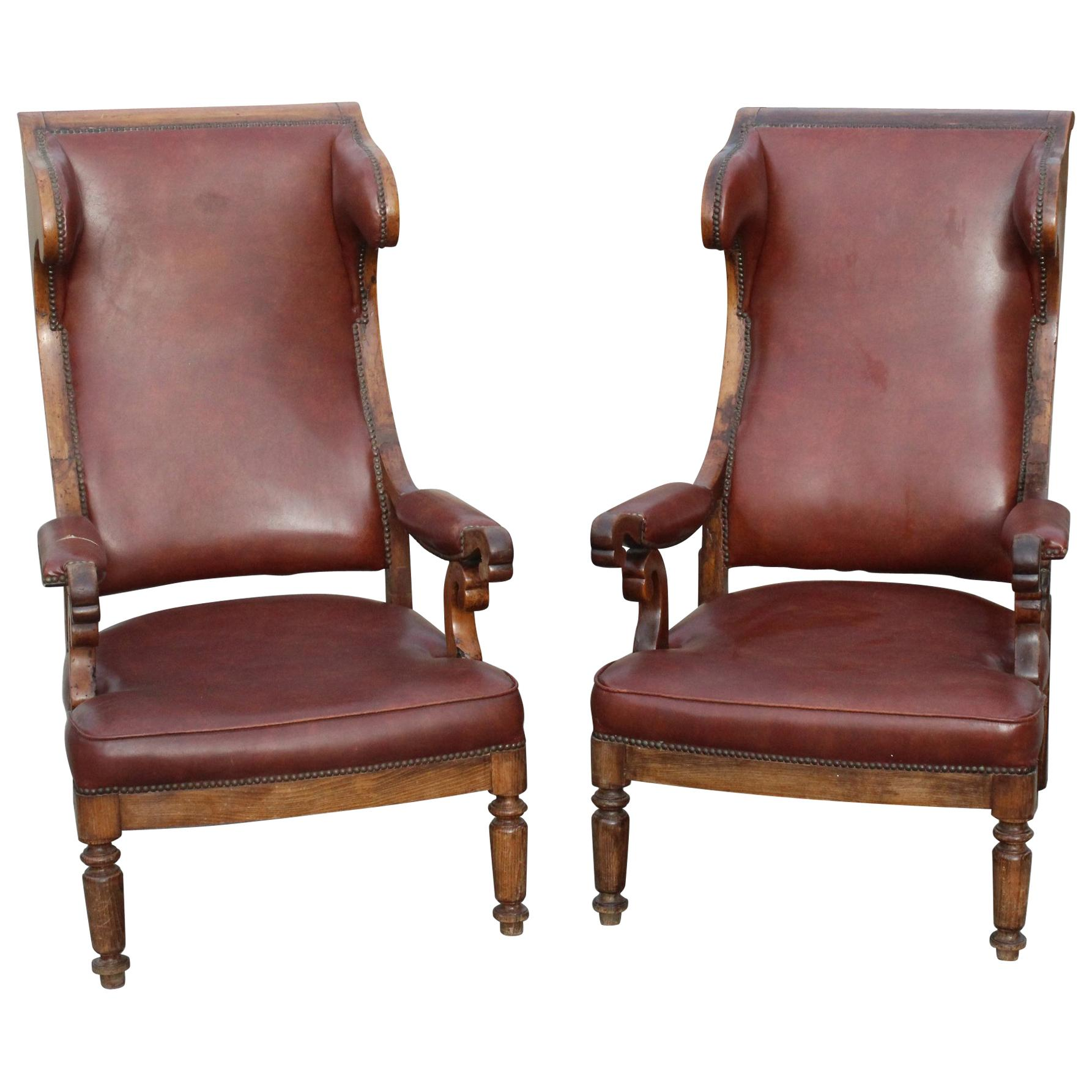 19th Century Pair of French Walnut Leatherette Upholstered Armchairs